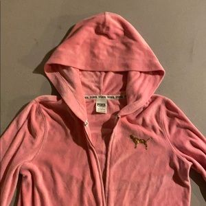 Bs pink velour hoodie sequins small